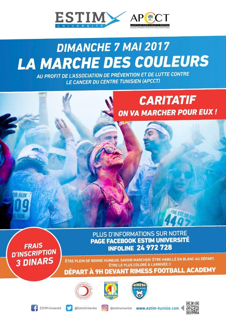 La Marche des Couleurs au profit de l'Association de prévention et de lutte contre le cancer du centre Tunisien